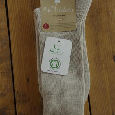 Chaussettes 100% coton bio beige