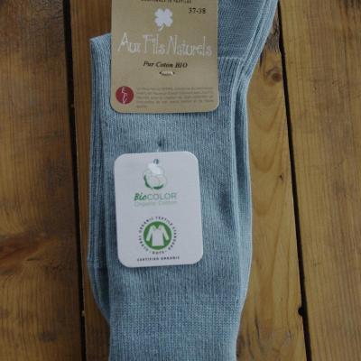 Chaussettes 100% coton bio bleu norvège