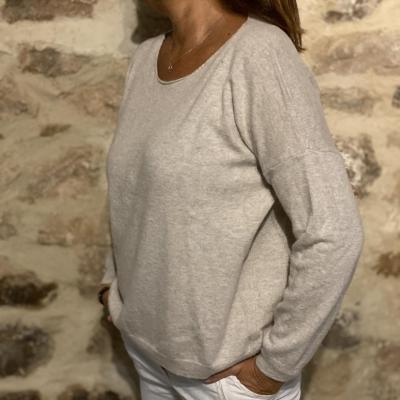 Pull femme laine/cachemire col rond beige naturel